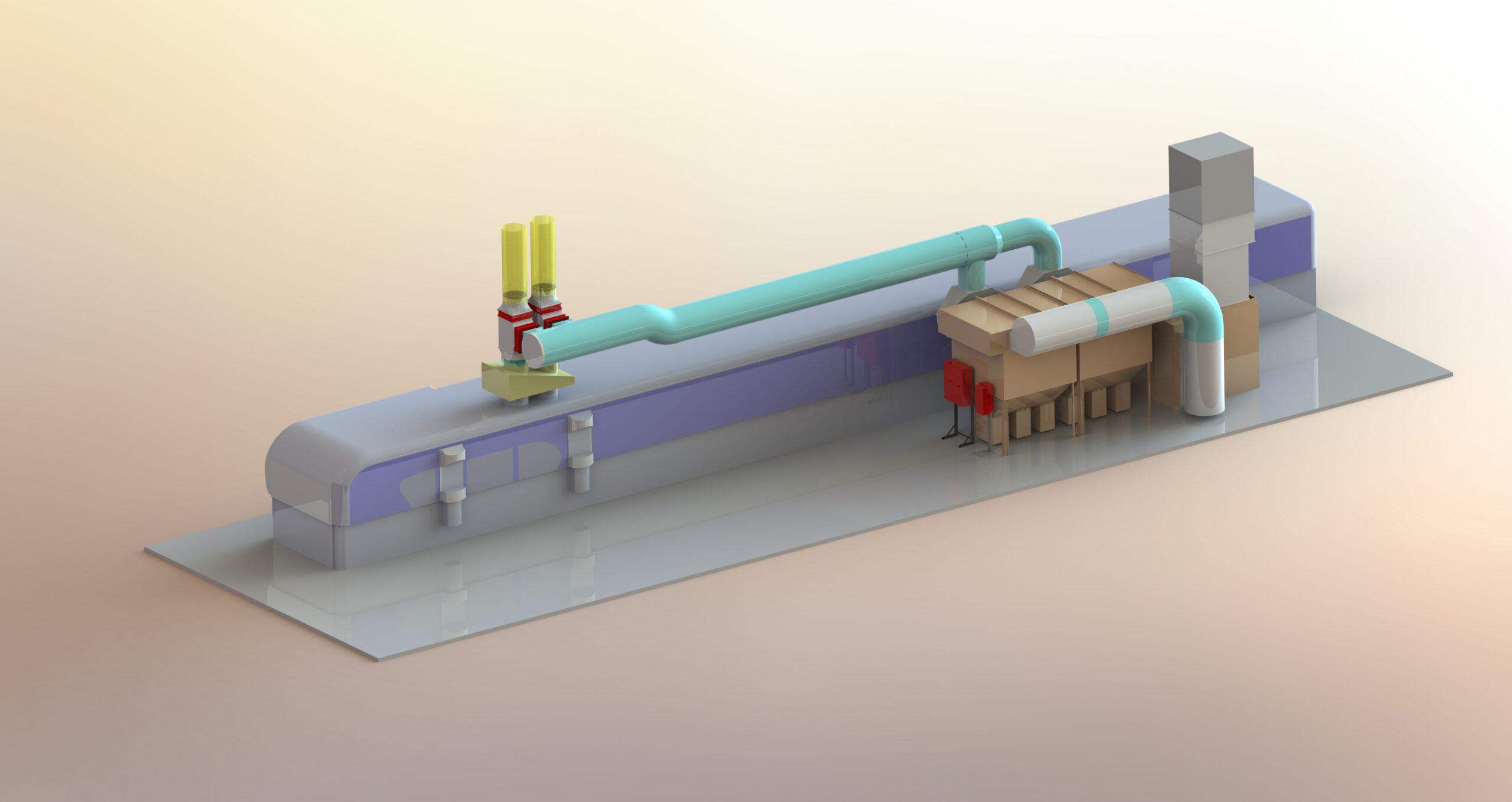 3D Layout Entstaubung für Bobst