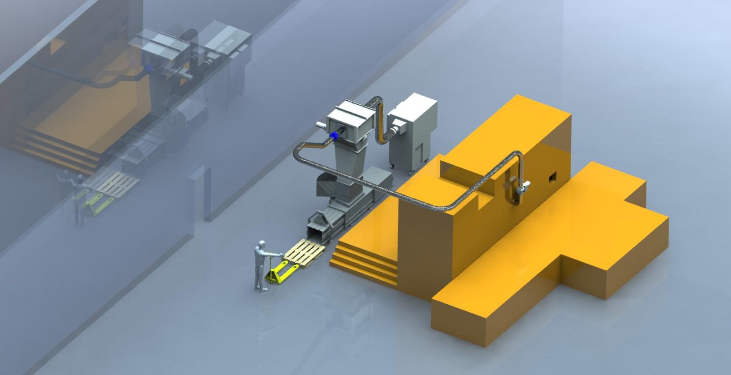 3D Bild von Folienentsorgungsanlage mit Ballenpresse an Bobst Masterfoil